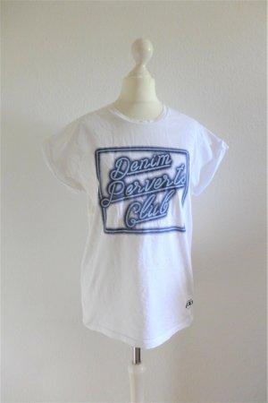 Pepe Jeans Shirt Denim Perverts Club weiß blau Print Gr. M 38