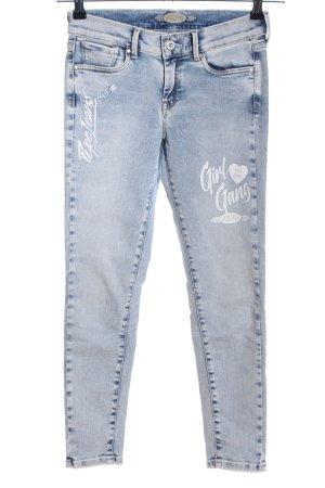 Pepe Jeans Skinny Jeans blau Schriftzug gedruckt Casual-Look