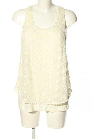 Pepe Jeans Top di merletto bianco sporco stampa integrale stile casual