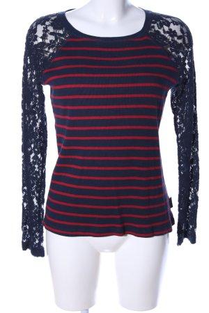 Pepe Jeans Longsleeve blau-rot Streifenmuster Casual-Look