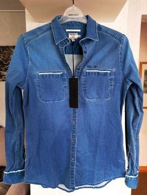 Pepe Jeans Stretch Jeanshemd mit Paspeln XS blau used NP. 95,95€ Neu mit Etikett