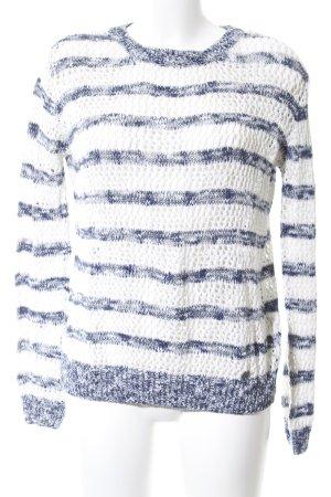 Pepe Jeans Strickpullover weiß-blau Streifenmuster Casual-Look
