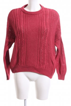 Pepe Jeans Strickpullover rot Zopfmuster Casual-Look