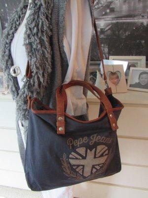 Pepe Jeans * Süße Bodybag Tasche * navy-cognac braun * wNEU
