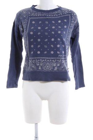 Pepe Jeans Sweatshirt blau-weiß abstraktes Muster Casual-Look