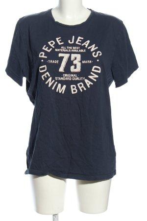 Pepe Jeans T-Shirt blau-weiß Schriftzug gedruckt Casual-Look