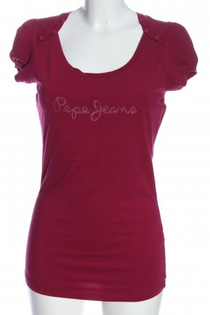 Pepe Jeans T-Shirt pink Schriftzug gestickt Casual-Look