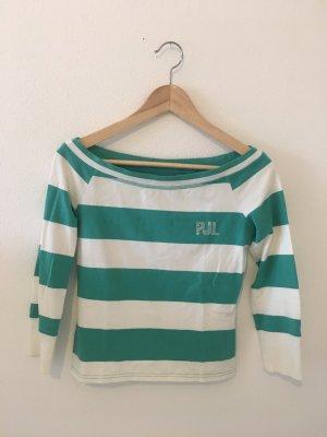 Pepe Jeans Top Oberteil Shirt Dreiviertel Ringel Streifen gestreift geringelt weiß Türkis Strass m Medium