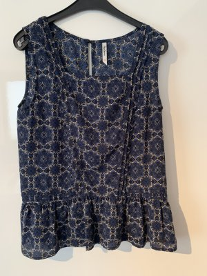 Pepe Jeans Blouse topje wit-donkerblauw