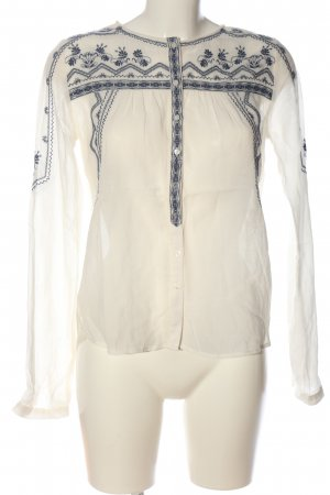 Pepe Jeans Transparenz-Bluse wollweiß-blau grafisches Muster Casual-Look