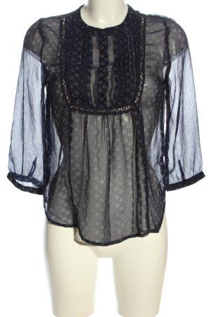 Pepe Jeans Transparenz-Bluse schwarz-weiß Blumenmuster Casual-Look