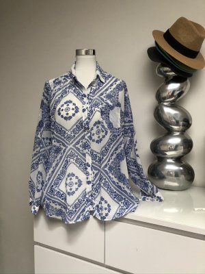 Pepe Jeans Transparenz-Bluse weiß-blau Boho-Look