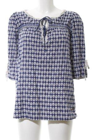 Pepe Jeans Tunikabluse blau-weiß abstraktes Muster Elegant