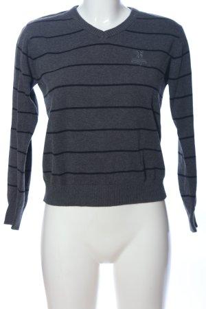 Pepe Jeans V-Ausschnitt-Pullover hellgrau-schwarz Streifenmuster Casual-Look