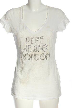 Pepe Jeans V-Ausschnitt-Shirt wollweiß abstraktes Muster Casual-Look