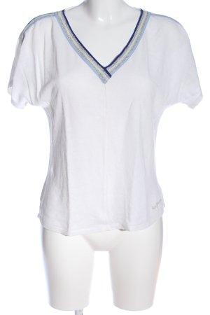 Pepe Jeans V-Ausschnitt-Shirt weiß-blau Streifenmuster Casual-Look