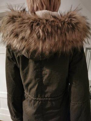 Pepe Jeans Winterjacke / Parka im Army Style mit XL Faux Pelz Kapuze (Gr. XS/12)