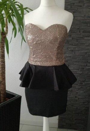 Vestido peplum negro-color oro