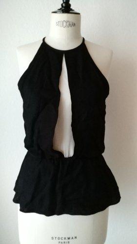 Zara Top peplo bianco-nero