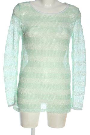 Pepper & Mint Jersey de ganchillo verde-blanco estampado a rayas look casual