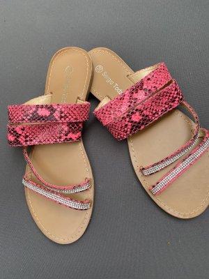Peppige Sandale, Gr 38, pink-leo, NEU