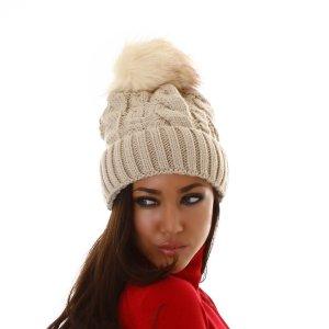 Chapeau en tricot beige clair-beige viscose