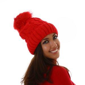 Chapeau en tricot rouge viscose