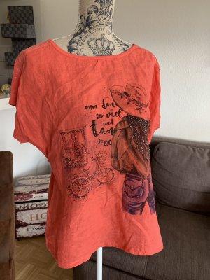 Peppiges Italy Shirt - OneSize - Lady - Coral/Black - OverSized