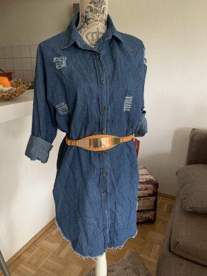 Peppiges Jeans-Hemd/Kleid! Neu - UsedLook - DarkBlue - OneSize!