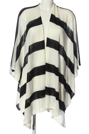 per lei Poncho blanco-negro estampado a rayas look casual