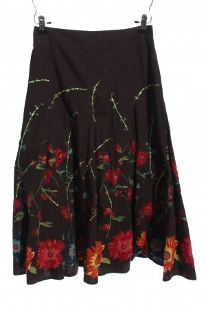 per una by Marks & Spencer Glockenrock braun-rot Blumenmuster Casual-Look