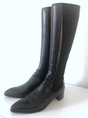Jil Sander Stretch Boots black-silver-colored leather