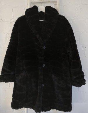 Vintage Płaszcz ze sztucznym futrem czarny