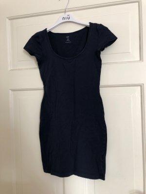 H&M Sukienka z dekoltem typu bandeau ciemnoniebieski
