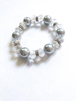 Armband met parels grijs-zilver