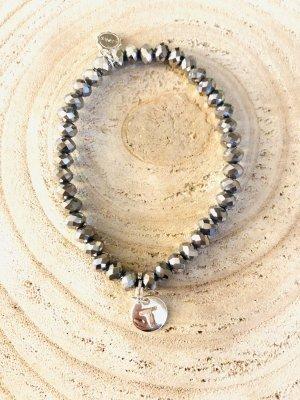 Perlen Armband silber mit Buchstabe T Lizas