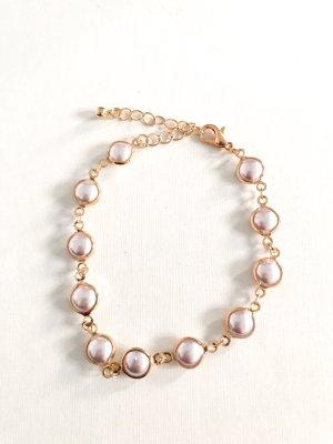 Perlen Armband weiß gold