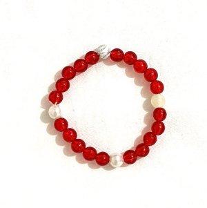 Vintage Bracelet en perles blanc-rouge