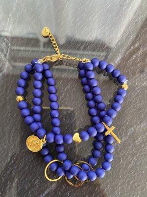 Bracelet en perles doré-bleu