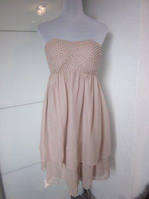 Perlen & Chiffon: wunderschönes Bandau Kleid in Nude/Creme NEU