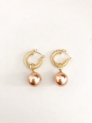 Pearl Earring gold-colored-light brown
