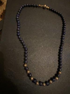 Collar de perlas color oro-azul