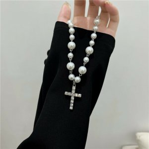 Perlen Halskette mit Zirkonia Steinen Kreuz Anhänger, Religion Schmuck Vintage retro