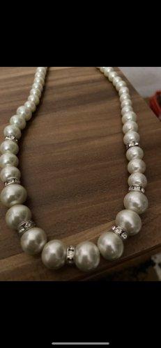 Collier de perles argenté-blanc