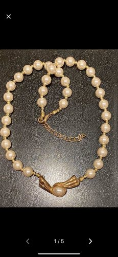 Perlen Halskette vergoldete Anhänger 47 cm