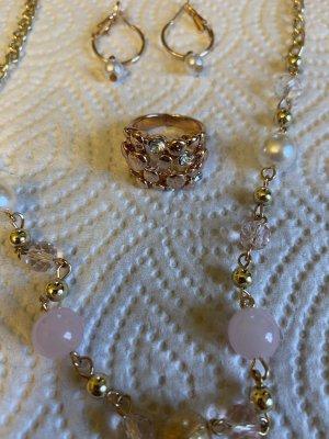 Perlen Halskette vintage Ring gr 15/52 Perlen Ohrringe