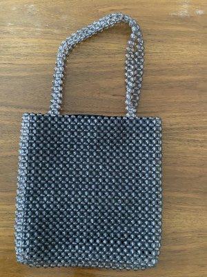 Perlen Handtasche Transparent grau Silber ungetragen