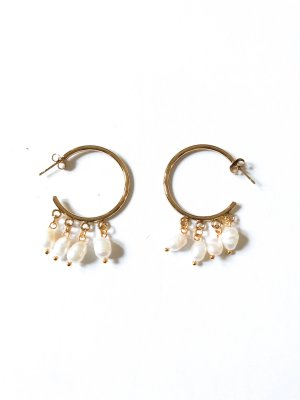 Ear Hoops white-gold-colored