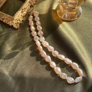 925 Collana di perle bianco-rosa chiaro