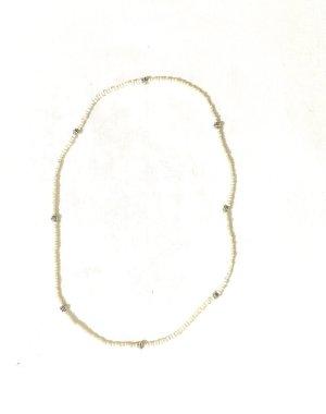 Vintage Collar de perlas color plata-beige claro